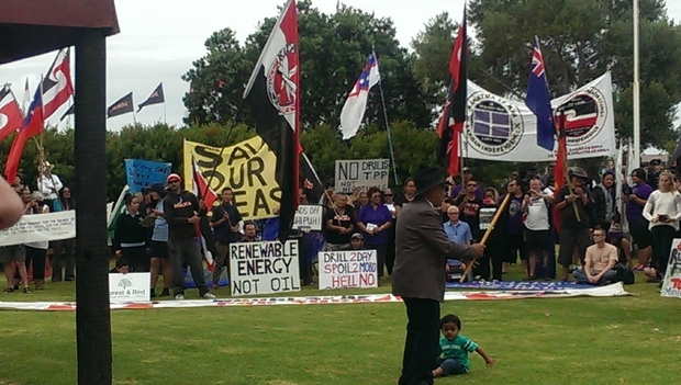 Anti-drilling protesters at the Treaty grounds.