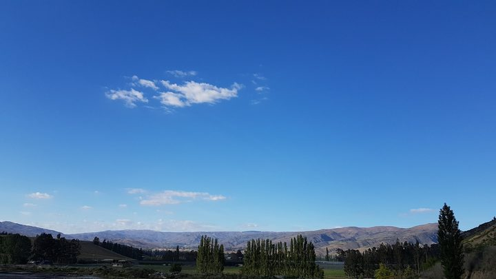 Central Otago on Thursday morning, October 19. The view is south towards Bannockburn from a winery in Ripponvale, Cromwell.