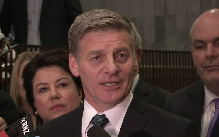 Bill English makes his concession speech. Photo: RNZ / YouTube