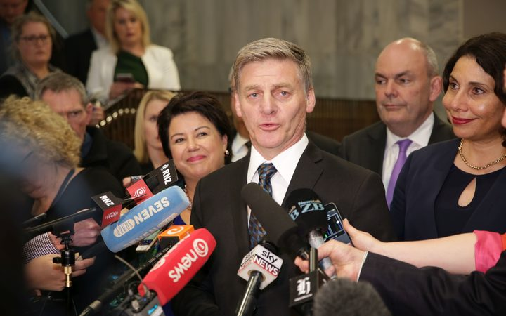 Bill English makes a concession speech after Winston Peters said New Zealand First would side with the Labour Party. Photo / Richard Tindiller