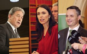 New Zealand First leader Winston Peters, Labour leader Jacinda Ardern and Greens leader James Shaw.