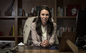 Jacinda Ardern, Labour Party leader in her office at the Beehive in the lead up to the 2017 election.