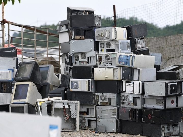 View of a waste recycling site piled with scrapped home appliances in Guiyang city, southwest China's Guizhou province
