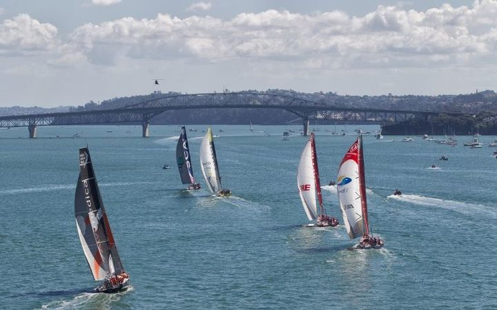 The 2015 Volvo Ocean fleet racing in Auckland