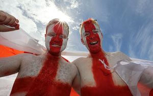 England supporters Lewis Whitham and Adam Stockdale.