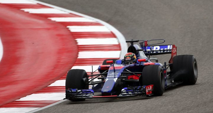 The Kiwi driver in action for Toro Rosso during practice for the US Grand Prix.