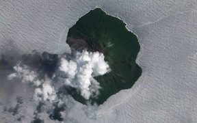 A satellite image of Tinakula, Solomon Islands, taken in 2012.