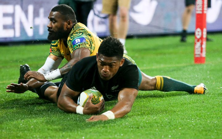 Waisake Naholo goes in for the All Blacks first try. 3rd Bledisloe Cup rugby test match, Australia v All Blacks,  Brisbane, 2017