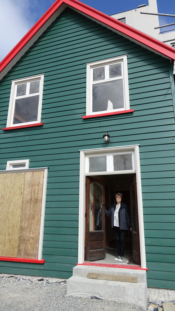 Christchurch Heritage Trust chair Anna Crighton stands in the doorway of the historic Shands building