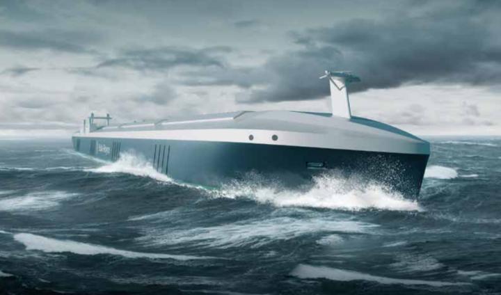 An artist's impression of an autonomous ship.
