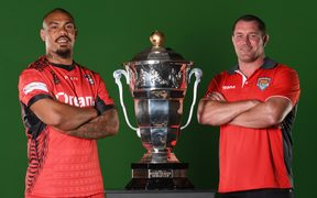Tonga captain Sika Manu and head coach Kristian Woolf.