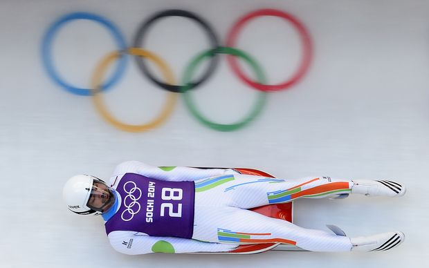 Independent Olympics participant Shiva Keshavan from India in a training session for the men's luge singles. India is currently suspended by the IOC.