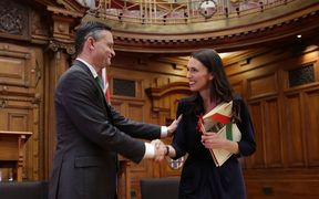 James Shaw and Jacinda Ardern seal the deal with a handshake