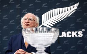 Irish President Michael D. Higgins during a presentation to New Zealand Rugby in memory of Dave Gallaher.
