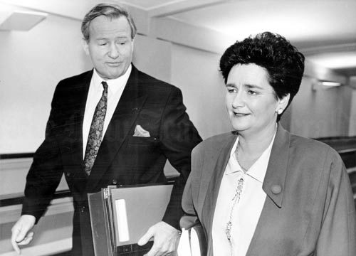 Prime Minister Jim Bolger and Finance Minister Ruth Richardson make their way to the House of Representatives for the presentation of the 1991 budget