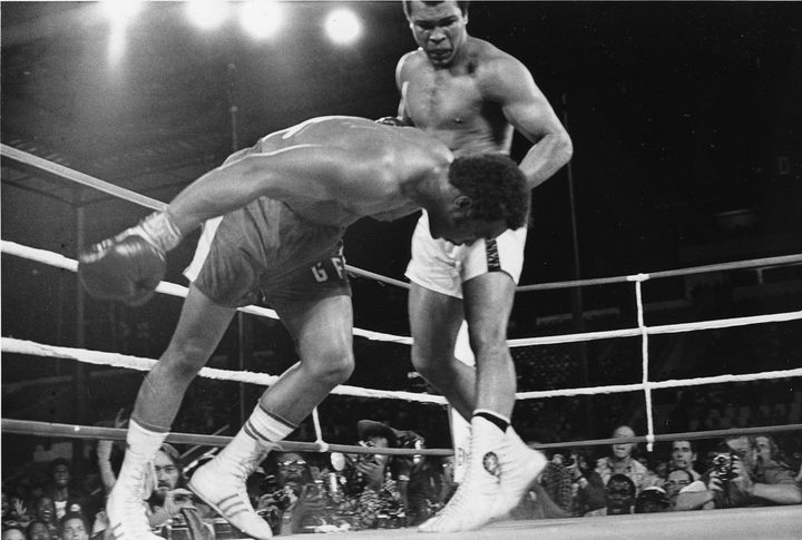 Muhammad Ali fights George Foreman in 1974.