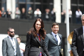 Newly sworn-in Prime Minister Jacinda Ardern arrives at Parliament.