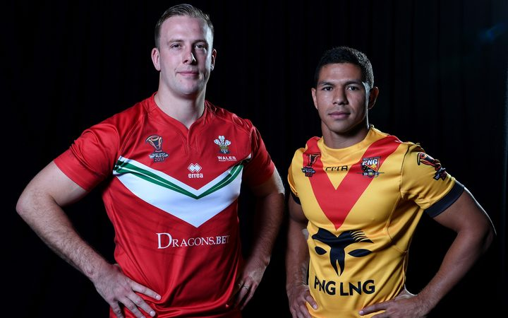 Wales captain Craig Kopczak with Papua New Guinea captain David Mead.