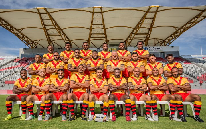 The PNG Kumuls World Cup squad on home soil at the National Football Stadium in Port Moresby.