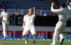 Neil Wagner (centre) claimed four wickets for 62 runs off 25 overs.