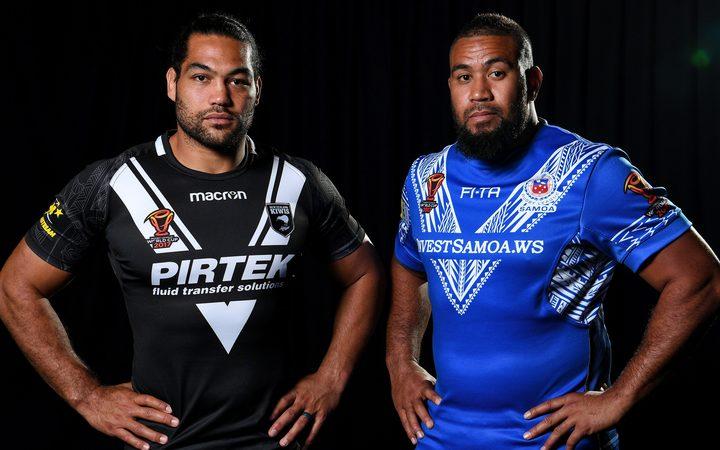 New Zealand captain Adam Blair and Samoa captain Frank Pritchard.