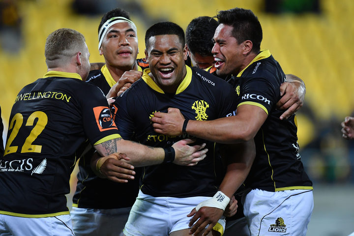 Lions Julian Savea celebrates a try with team mates