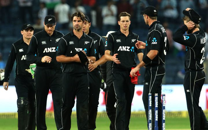 The Black Caps players following their ODI loss to India.