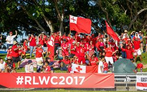 Tongan league fans show their support.
