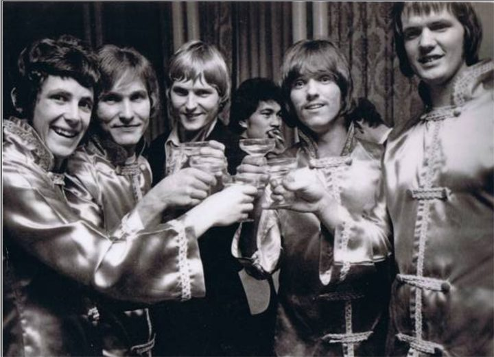 Hi-Revving Tongues (left to right) keyboardist Bruce Coleman, drummer Rob Noad, vocalist Chris Parfitt, lead and rhythm guitarist Mike Balcombe  and bass player John Walmsley. Taken at the Loxene Gold Disk Awards in 1967.
