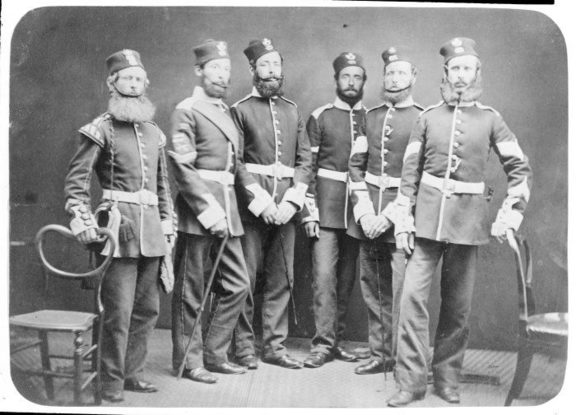 Soldiers of the Light Infantry Company, 65th Regiment Ref: 1/2-025608-F. Alexander Turnbull Library, Wellington, New Zealand.