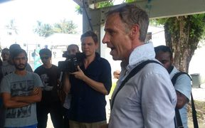 Senator Nick McKim and ABC reporters inside the Manus Island detention centre.