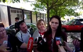 Jacinda Ardern spoke to reporters on her first visit to Christchurch as Prime Minister.