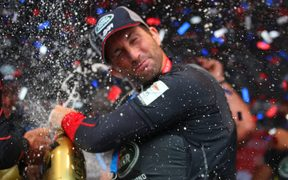 Ben Ainslie celebrates winning America's Cup World Series in Portsmouth. He now wants America's Cup success in Auckland.