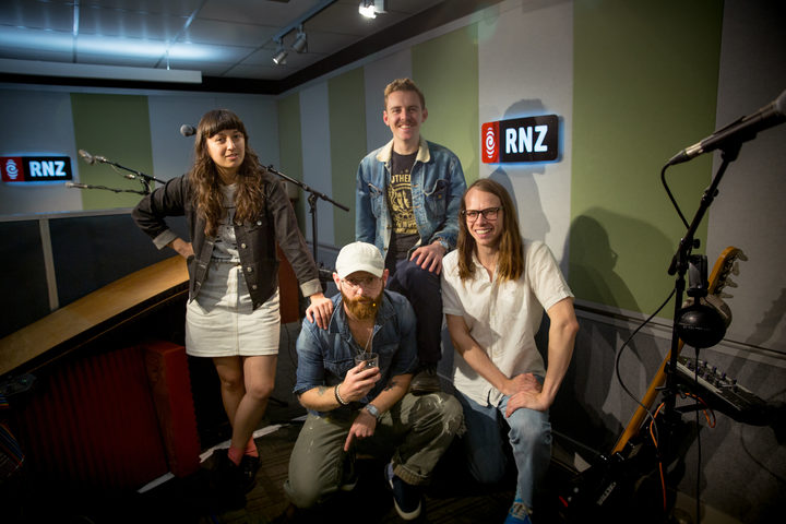 The Beths in the RNZ Auckland studio before their NZ Live session today. 3 November 2017.