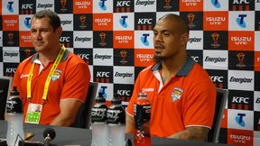 Coach Kristian Woolf, left, and Mate Ma'a Tonga captain Sika Manu.