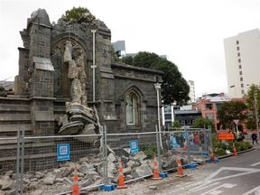 The remains of a toppled building in central Christchurch.
