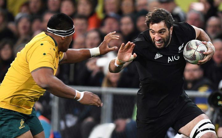 Sam Whitelock on the charge.