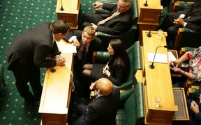 The Labour front bench in deep discussion.