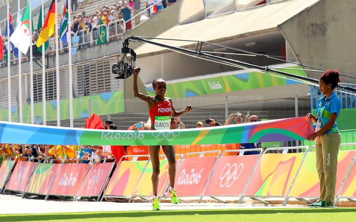 Kenya's Jemima Sumgong wins the women's marathon at the 2016 Rio Olympic Games.