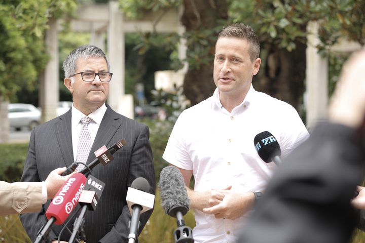 Teina Pora's lawyer Jonathan Krebs, left, and private investigator Tim McKinnel.