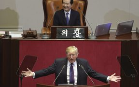 US President Donald Trump addresses the National Assembly in Seoul on November 8, 2017.