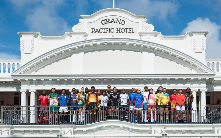 The Men's and Women's Captains pose ahead of the 2017 Oceania Sevens in Suva.