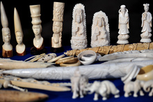 Ivory ornaments on display in London.