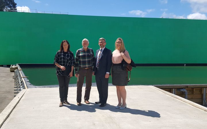 Sioux MacDonald from the Screen Industry Technicians Guild, movie producer Barrie Osborne, Workplace Relations Minister Iain Lees Galloway and Equity NZ organiser Melissa Ansell-Bridges at the Kumeu studio