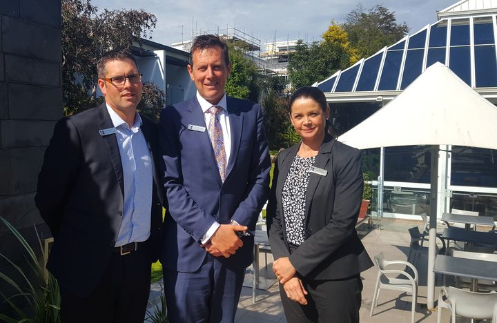 L-R Michael Jane, Michael Paterson and Crystal Tamou of the Commodore Hotel in Christchurch