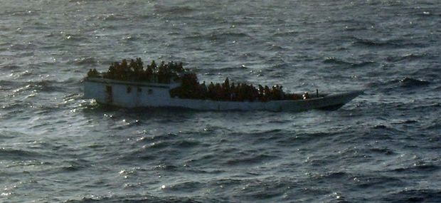 A boat carrying asylum seekers off the north coast of Australia in June 2012. The vessel later capsized.