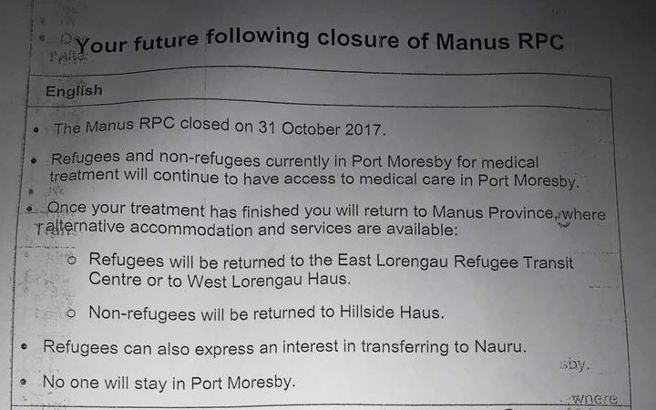 The note given to Manus Island detainees in Port Moresby.