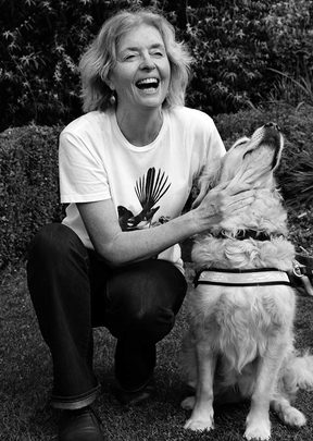 Michele Leggott with her guide dog