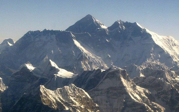 An aerial view of Mt Everest (centre).