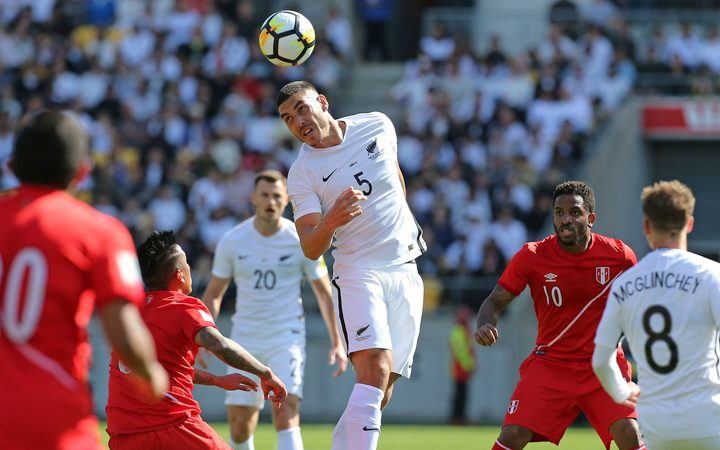 Michael Boxall takes a header for the All Whites.